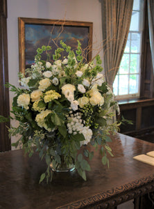 Rustic White and Green Main Reception Arrangement - Flowerplustoronto