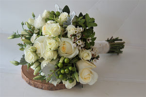 Rustic White and Ivory Hand-tied Bridal Bouquet - Flowerplustoronto