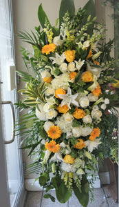 FNS11 - Classic  Yellow and White Standing Funeral Spray - Flowerplustoronto