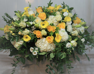 FNC11 - White and Yellow Casket Arrangement - Flowerplustoronto