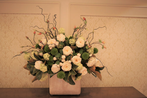S47 - Classic White and Green Arrangement for Foyer Table - Flowerplustoronto