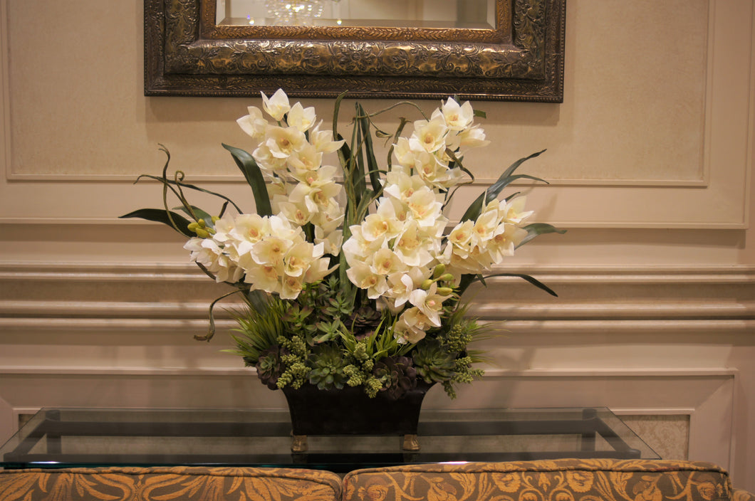 S48 - Modern White Cymbidium Arrangement for Foyer Table - Flowerplustoronto