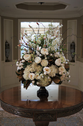 S46 - Classic White and Green Arrangement for Foyer Table - Flowerplustoronto