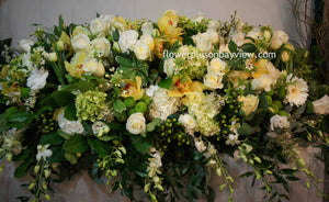 FNC13 - White and Yellow Closed Casket Arrangement - Flowerplustoronto