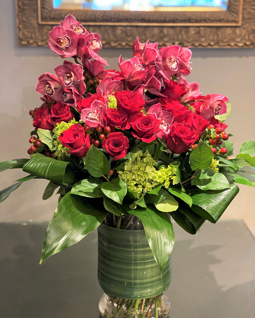 V10 - Lush Red Rose and Cymbidium Arrangement (1 week lead time for burgundy orchids, will substitute w/ pink orchids) - Flowerplustoronto