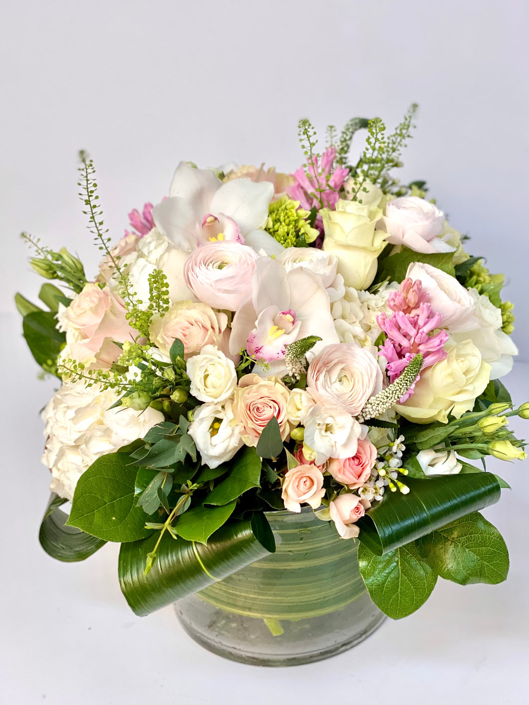 F102- White and Pink Vase Arrangement - Flowerplustoronto