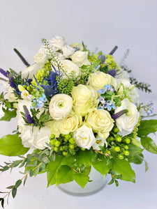 F77 - White, Purple and Blue Vase Arrangement - Flowerplustoronto