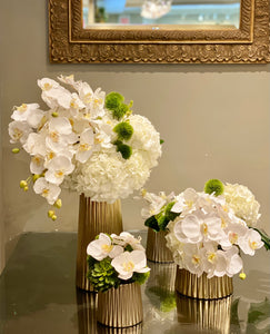 S58 - Modern White Phalaenopsis Orchids and Hydrangeas in Series Arrangement for Round Foyer Table - Flowerplustoronto