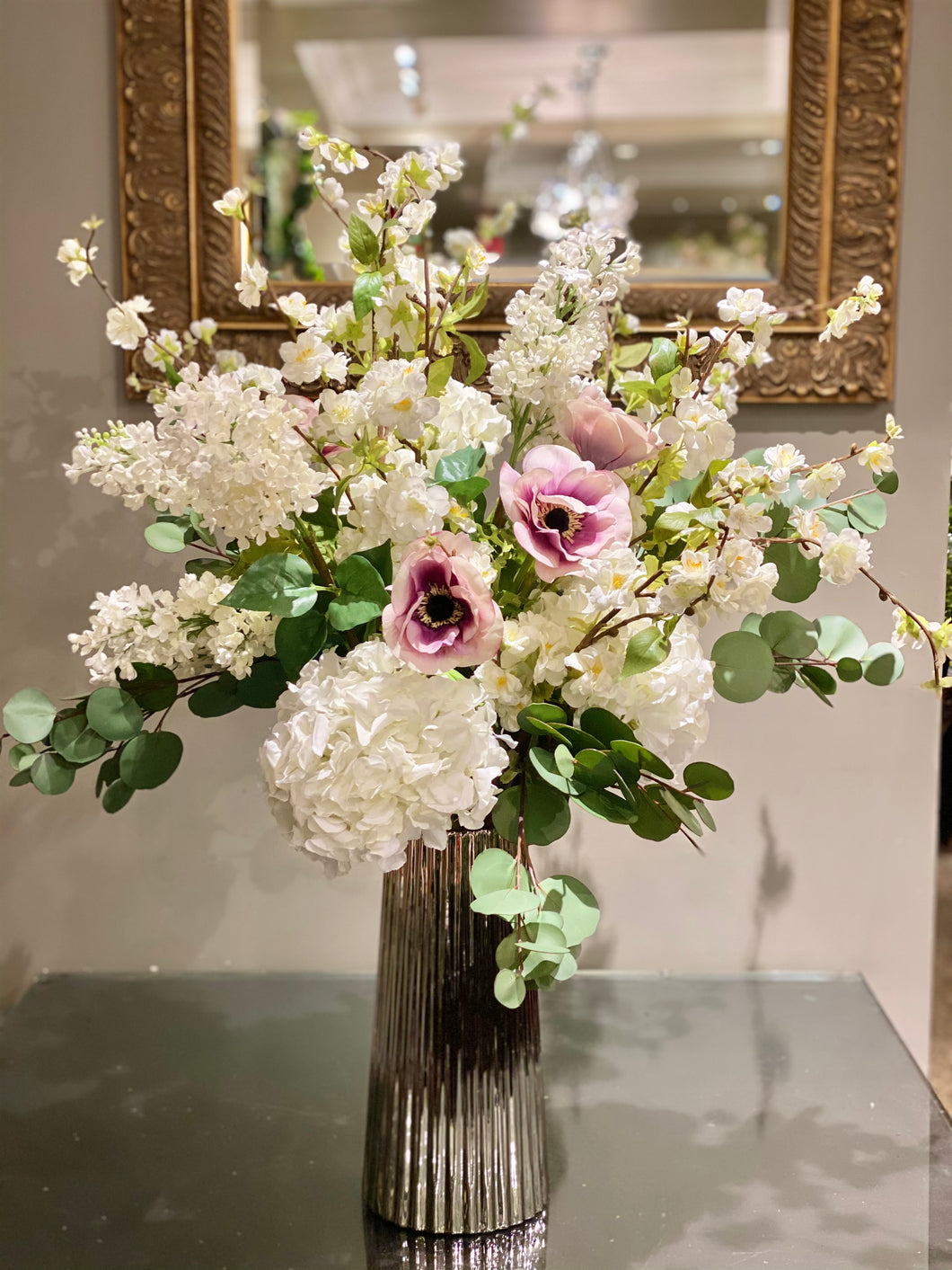 S69 - Delicate White and Lavender Arrangement accented with Silver Dollar Eucalyptus - Flowerplustoronto