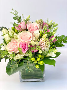 F118 - White and Pink Vase Arrangement - Flowerplustoronto