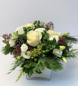 X61 - Delicate Winter White Holiday Vase Arrangement - Flowerplustoronto