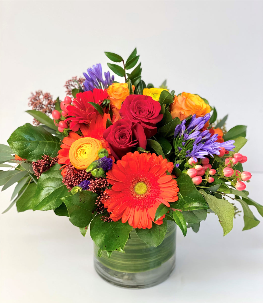 F61 - Classic Bright Coloured Vase Arrangement - Flowerplustoronto