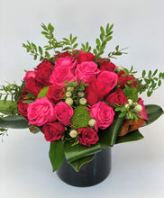 Load image into Gallery viewer, F85 - Red and Hot Pink Rose Nosegay Arrangement - Flowerplustoronto