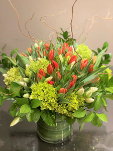 F94 - Lush Tulip Vase Arrangement  (Tulip Colours based on Availability) - Flowerplustoronto