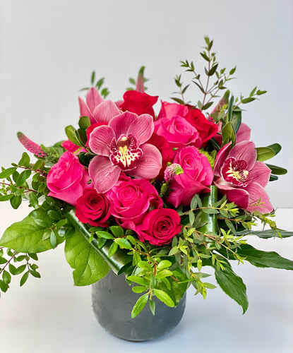 F73 - Red and Hot Pink Rose Nosegay accented with Cymbidium Orchids - Flowerplustoronto