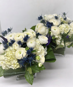 E34 - White and Blue Table Centerpieces - Series Design - Flowerplustoronto