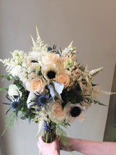 Load image into Gallery viewer, Anenome and Blue Thistle Hand-tied Bridal Bouquet - Flowerplustoronto