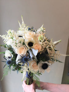 Anenome and Blue Thistle Hand-tied Bridal Bouquet - Flowerplustoronto