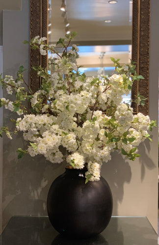 S49 - Modern White Blossom Arrangement for Foyer Table - Flowerplustoronto