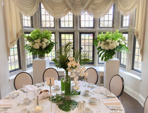 Modern White and Green Guest Centerpieces - Flowerplustoronto