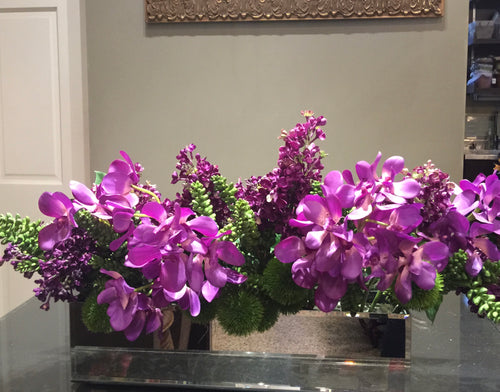 S1 - Modern Purple Orchid Centerpiece - Flowerplustoronto