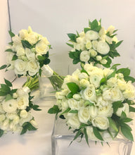Load image into Gallery viewer, Elegant White Hand-tied Bridal and Bridesmaids Bouquets - Flowerplustoronto