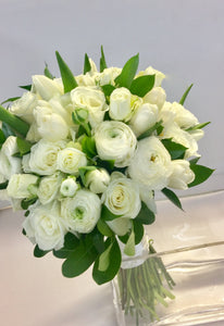 Elegant White Hand-tied Bridal and Bridesmaids Bouquets - Flowerplustoronto