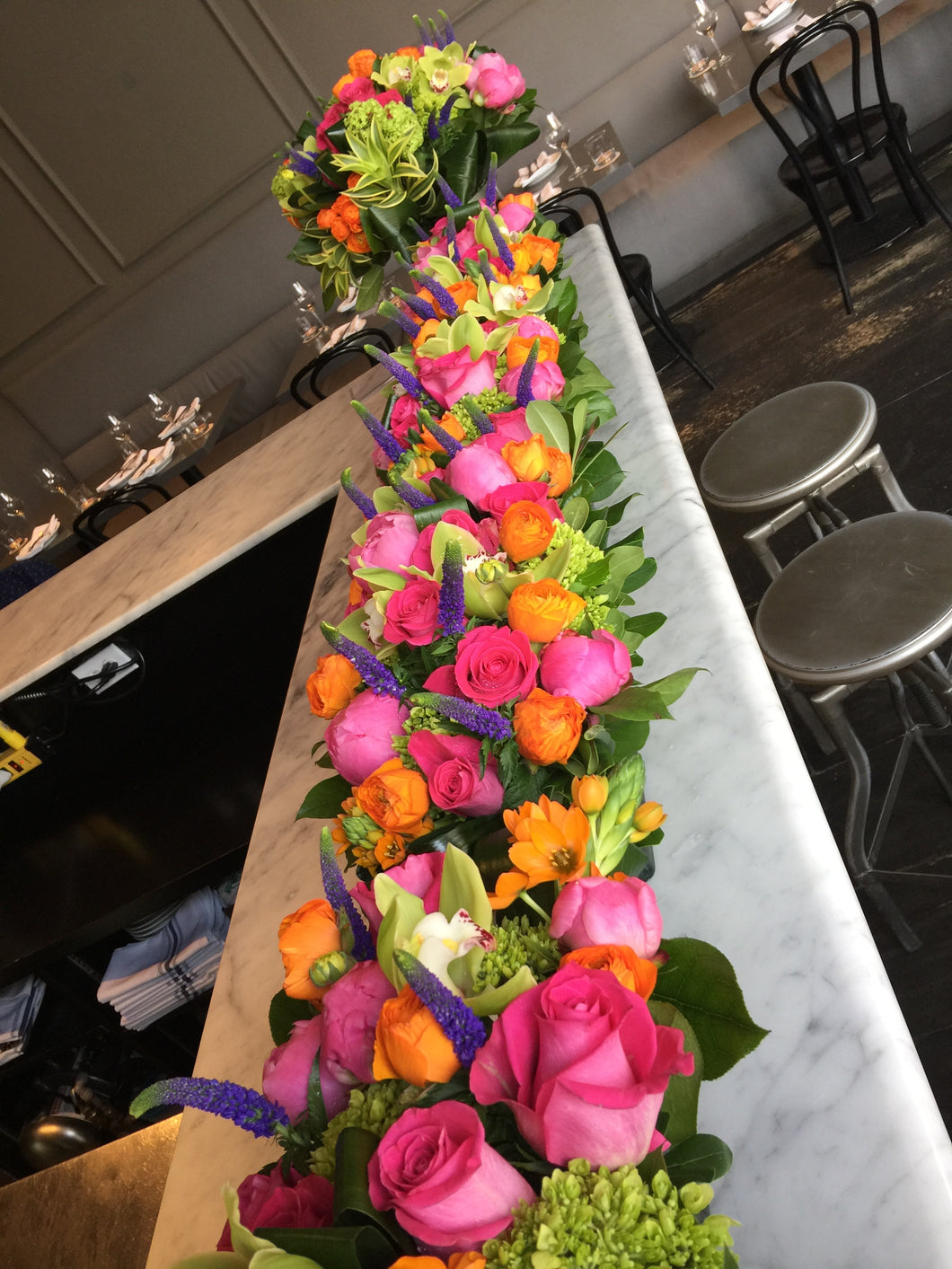 E29 - Hot Pink, Orange, Purple and Chartruese Rectangular Centerpieces - Series Design - Flowerplustoronto