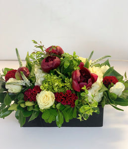 E32 -  Burgandy and White Table Centerpiece - Flowerplustoronto