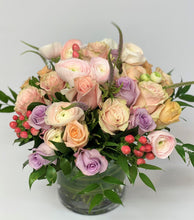 Load image into Gallery viewer, F15 - Soft and Romantic Pastel Arrangement in Clear Vase - Flowerplustoronto