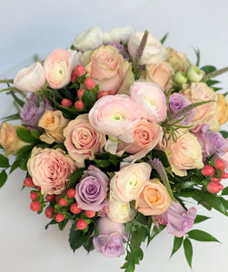 F15 - Soft and Romantic Pastel Arrangement in Clear Vase - Flowerplustoronto