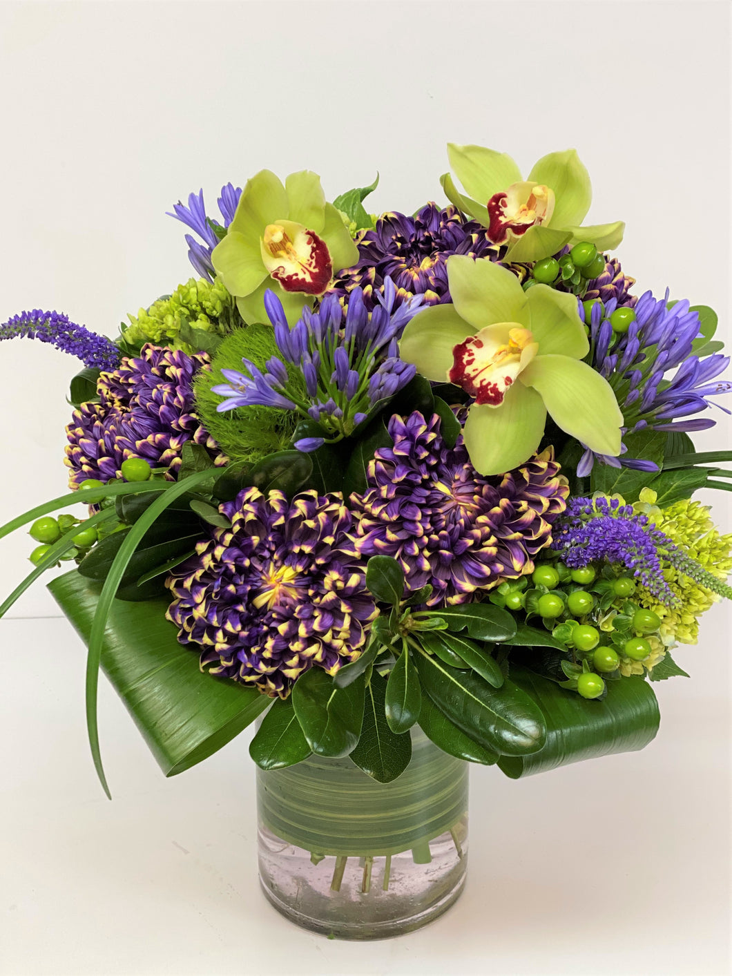 F174 - Modern Purple and Chartreuse Vase Arrangement - Flowerplustoronto