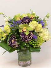 Load image into Gallery viewer, F24 - Elegant White and Purple and Chartreuse Vase Arrangement - Flowerplustoronto