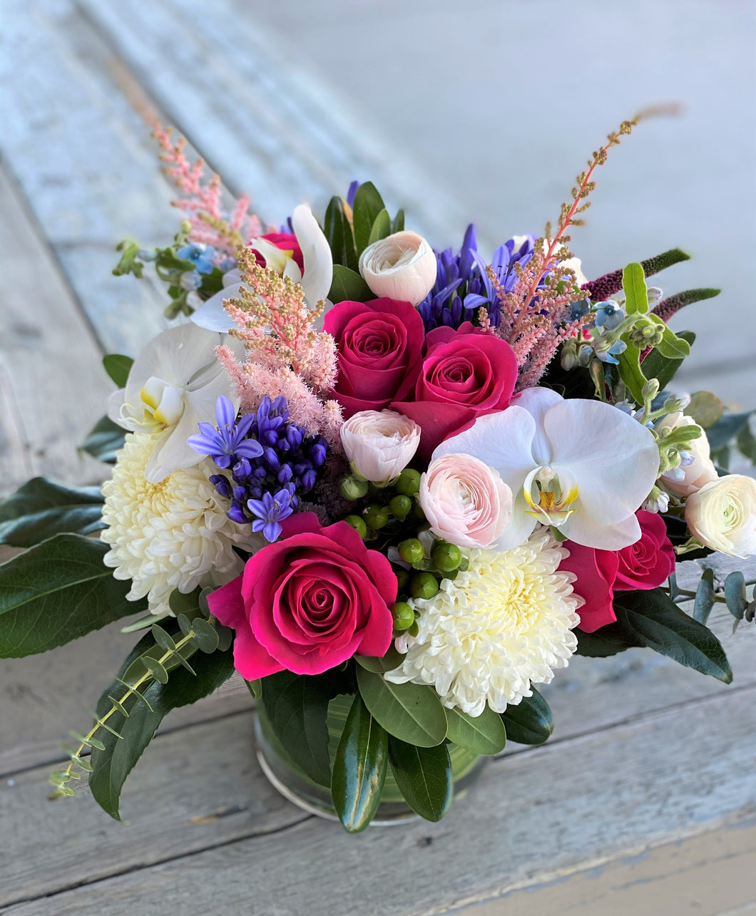 F129 - Modern Pink, Purple, White Arrangement in Clear Vase - Flowerplustoronto
