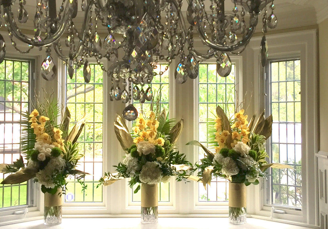 E41 - Roses and Cymbidium Orchids Arragements - Series Design for the Bay Window - Flowerplustoronto