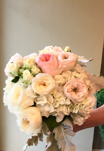 Delicate Blush, Light pink and Ivory Hand-tied Bridal Bouquet - Flowerplustoronto