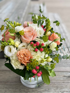F54 - Summery Peaches, Corals and White Vase Arrangement - Flowerplustoronto