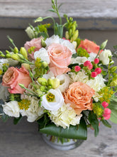 Load image into Gallery viewer, F54 - Summery Peaches, Corals and White Vase Arrangement - Flowerplustoronto