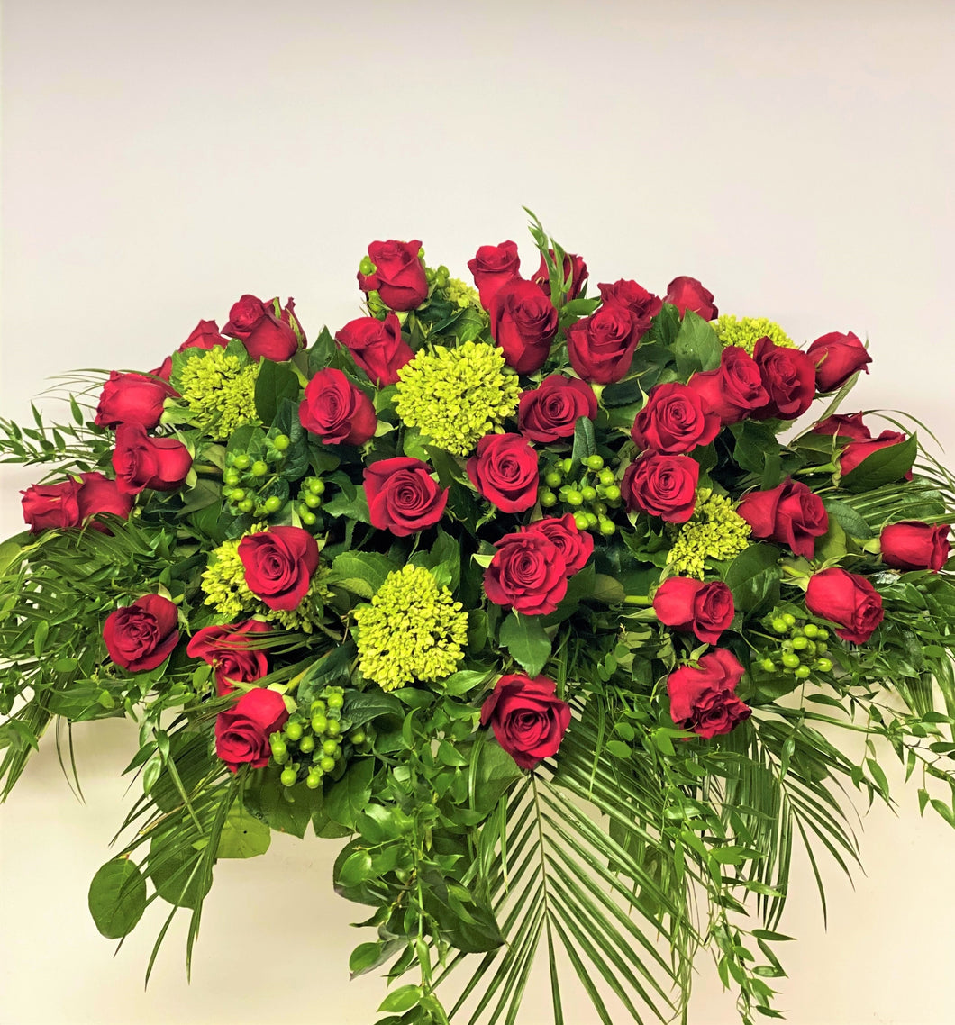 FNC21 - Classic Red Rose Open Casket Arrangement - Flowerplustoronto