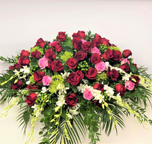 Load image into Gallery viewer, FNC35 - Classic  Pink, Red and White Casket Arrangement - Flowerplustoronto