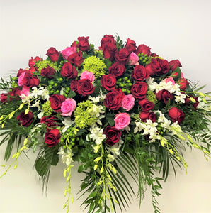 FNC35 - Classic  Pink, Red and White Casket Arrangement - Flowerplustoronto