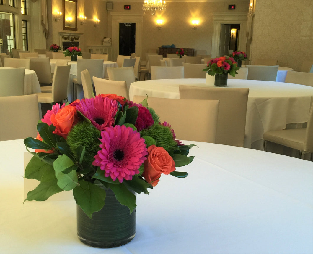 E35 - Hot Pink and Orange Table Centerpieces - Flowerplustoronto