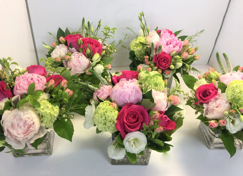 E37 - Shades of Pink and White Centerpieces for Card Tables - Flowerplustoronto