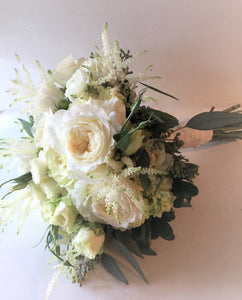 Elegant White and Green Hand-tied Bridal Bouquet - Flowerplustoronto