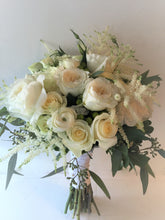 Load image into Gallery viewer, Elegant White and Green Hand-tied Bridal Bouquet - Flowerplustoronto