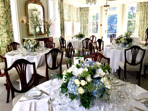 White and Light Blue Hydrangea Wedding - Guest table  Arrangements - Flowerplustoronto
