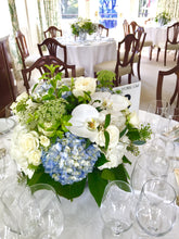 Load image into Gallery viewer, White and Light Blue Hydrangea Wedding - Guest table  Arrangements - Flowerplustoronto