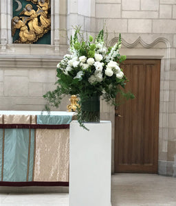 Elegant White and Green Ceremony Arrangements - Flowerplustoronto