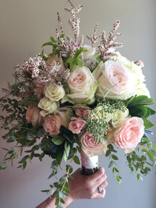 Elegant White and Blushes Hand-tied Bridal Bouquet - Flowerplustoronto