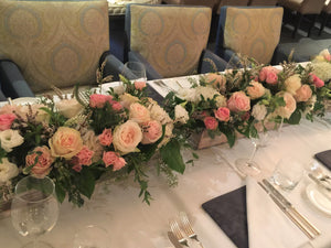 E39 - White and Shades of Pink Rectangular Table Centerpieces - Series Design - Flowerplustoronto